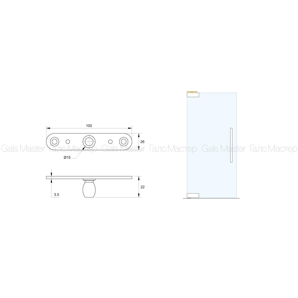 Верхняя ось для стеклянной двери