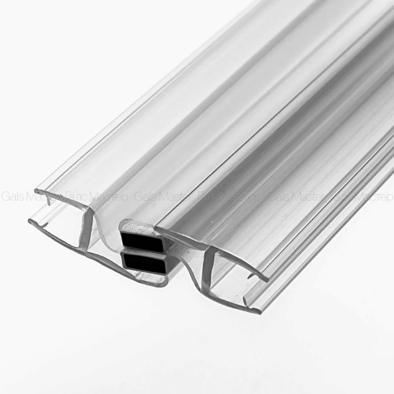 GM-620-8-2200 Уплотнительный профиль ПВХ, магнитный 180˚, бесцветный, белый магнит, для стекла 8 мм