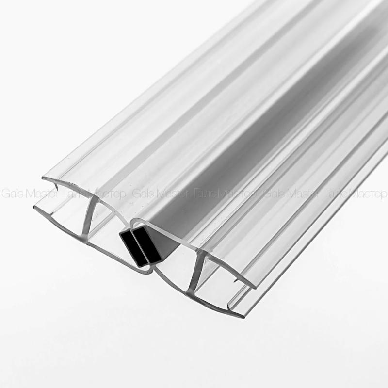GM-621-8-2200 Уплотнительный профиль ПВХ, магнитный 180˚, бесцветный, белый магнит, для стекла 8 мм