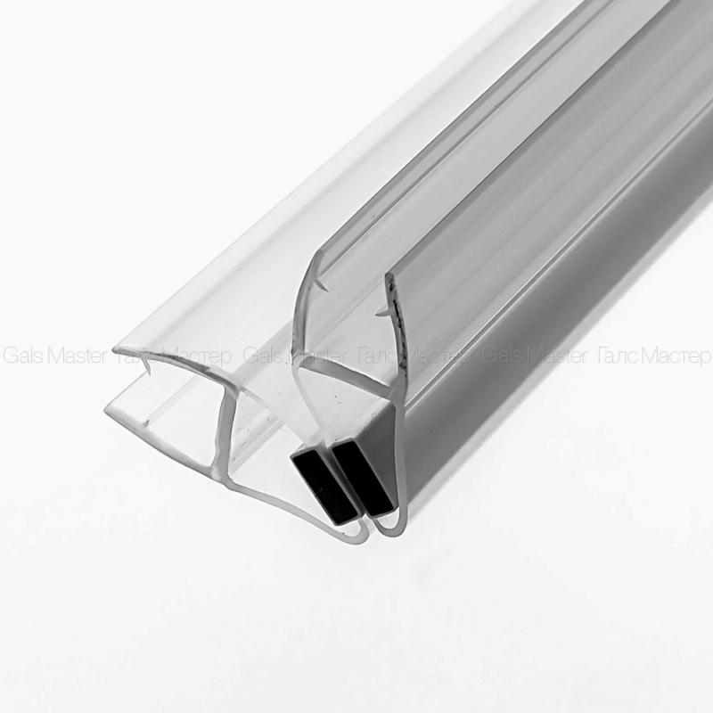 GM-622-8-2200 Уплотнительный профиль ПВХ, магнитный 90˚, бесцветный, белый магнит, для стекла 8 мм