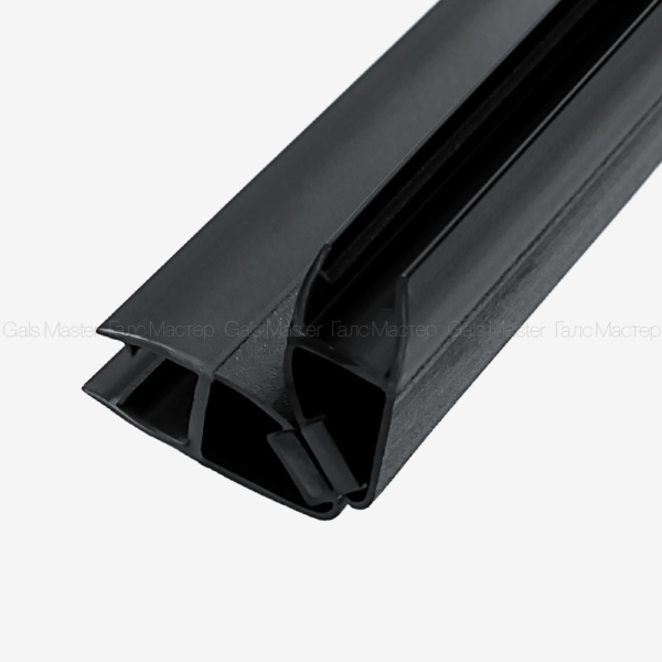 GM-622-8B-2200 Уплотнительный профиль ПВХ, магнитный 90˚, черный матовый, для стекла 8 мм