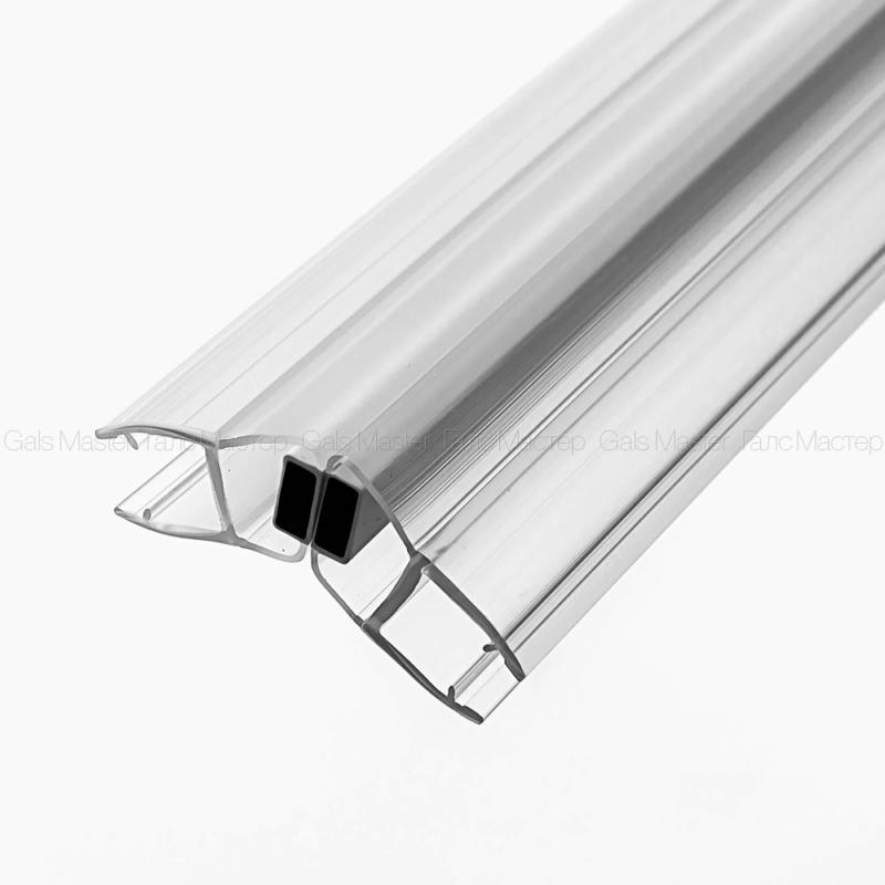 GM-623-8-2200 Уплотнительный профиль ПВХ, магнитный 135˚, бесцветный, белый магнит, для стекла 8 мм