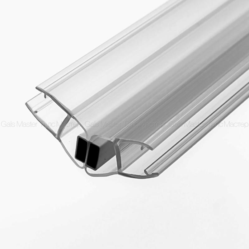 Уплотнительный ПВХ-профиль, магнитный 135˚, бесцветный, белый магнит, для стекла 8 мм