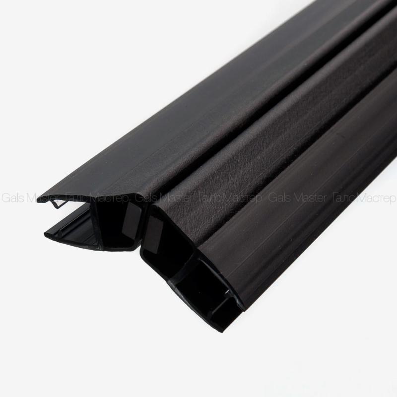 GM-623-8B-2200 Уплотнительный профиль ПВХ, магнитный 135˚, черный матовый, для стекла 8 мм