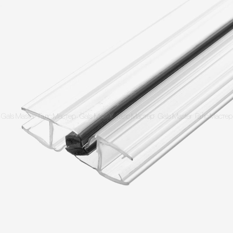 Уплотнительный профиль ПВХ, магнитный 180˚, черный магнит, для стекла 10 мм