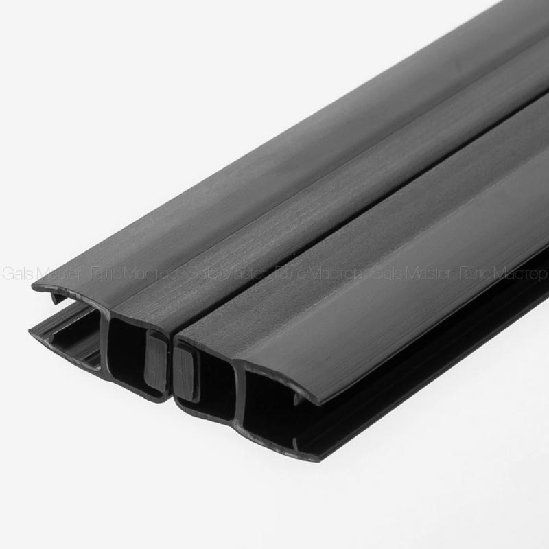 GM-624-8B-2200 Уплотнительный профиль ПВХ, магнитный 180˚, черный матовый, для стекла 8 мм
