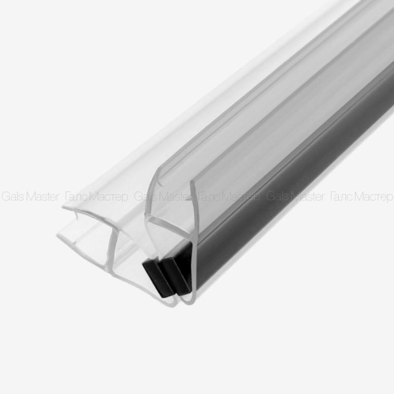 Уплотнительный профиль ПВХ, магнитный 90˚, черный магнит, для стекла 10 мм