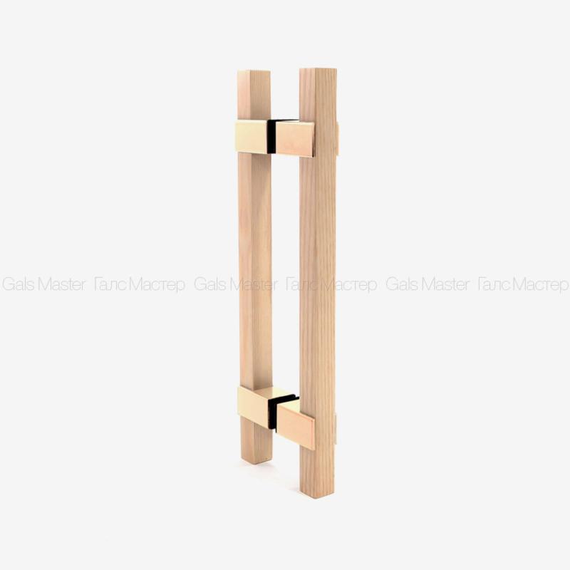 Ручка деревянная (дуб) для стеклянной двери в сауну. Под золото