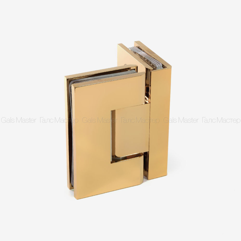 Петля стекло-стекло 90˚ золотая душевая фурнитура