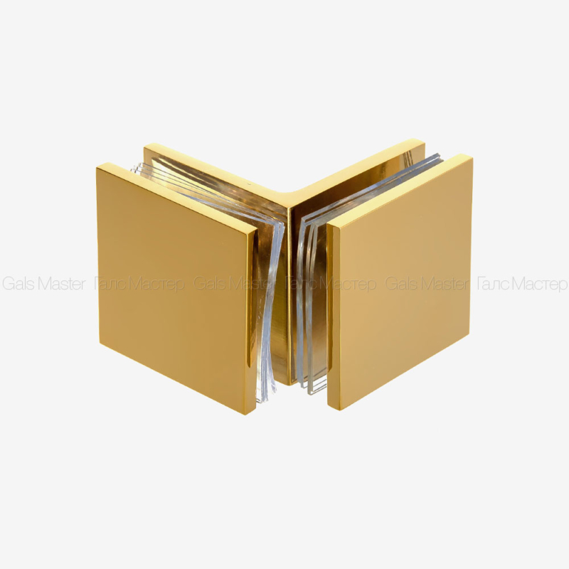 GM-725-PG Коннектор стекло-стекло 90˚ - глянцевое золото